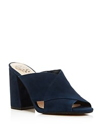 Vince Camuto Jevan Suede Slide High Heel Sandals Navy