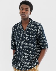 Asos White Co Ord Boxy Shirt In Abstract Print Heavy Crinkle Cotton Navy