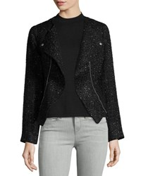 Laundry By Shelli Segal Platinum Boucle Moto Jacket Black