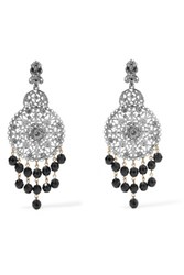 Oscar De La Renta Silver Tone Crystal And Bead Clip Earrings