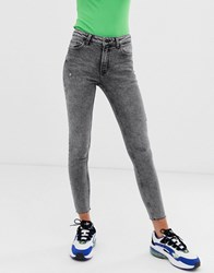 Bershka Skinny Jean In Acid Wash Black