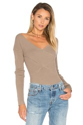 525 America Rib Double V Criss Cross Sweater Gray