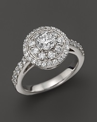 Bloomingdale's Certified Diamond Cluster Ring In 14K White Gold 1.35 Ct. T.W. Yellow Gold