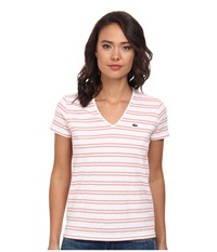 Lacoste Short Sleeve Textured Stripe Cotton V Neck Tee White Trianon Pink Women's T Shirt