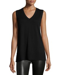 Derek Lam 10 Crosby Sleeveless V Neck Knit Front And Leopard Print Back Shell