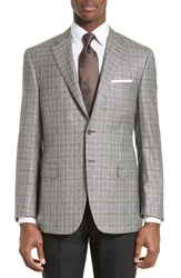 Canali Men's Big And Tall Classic Fit Plaid Silk And Wool Sport Coat Grey