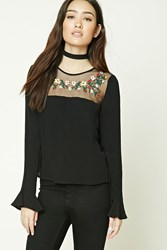 Forever 21 Boxy Embroidered Mesh Top Black Red