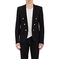 Balmain Men's Military Double Breasted Sportcoat Black Blue Black Blue