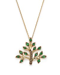 Bloomingdale's Tsavorite And Brown Diamond Tree Of Life Pendant Necklace In 14K Yellow Gold 17 Green Brown