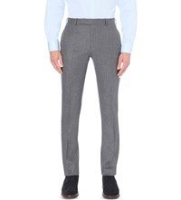 Gieves And Hawkes Slim Fit Tapered Wool Flannel Trousers Grey