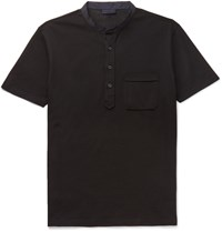 Lanvin Slim Fit Grandad Collar Cotton Pique Polo Shirt Black
