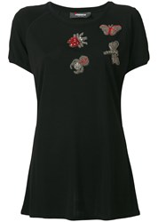 Jo No Fui Embellished T Shirt Women Cotton Polyamide Polyester Glass L Black