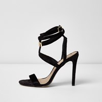 River Island Womens Black Cage Wrap Around Sandals