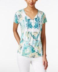 Styleandco. Style And Co. Printed Peasant Top Only At Macy's Botanic Breeze