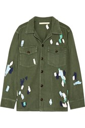 Bliss And Mischief Mitchell Embroidered Cotton Twill Jacket Army Green