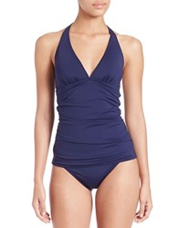 Tommy Bahama Shirred Halter Tankini Navy Blue