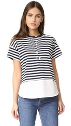 Derek Lam 10 Crosby Henley Tee With Shirting Midnight White
