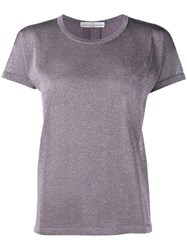 Golden Goose Deluxe Brand Varnish Effect T Shirt Pink And Purple