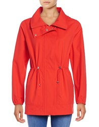 Bernardo Hooded Drawstring Anorak Jacket Red