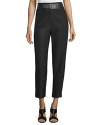 Donna Karan High Waist Belted Cropped Pants Black Women's