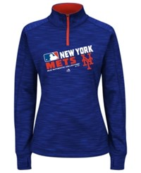 Majestic Women's New York Mets Ac Quarter Zip Pullover Shirt Royalblue
