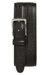 Men's Johnston And Murphy Textured Leather Belt Black