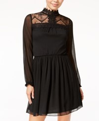 Amy Byer Bcx Juniors' Mock Neck Lace Trim Shift Dress Black