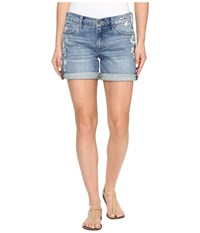 Lucky Brand The Roll Up Shorts In Blue Palms Blue Palms Women's Shorts Navy