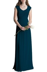 Levkoff Women's Lace Bodice A Line Gown Navy
