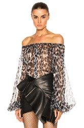 Saint Laurent Leopard Print Off The Shoulder Blouse In Animal Print Gray Animal Print Gray