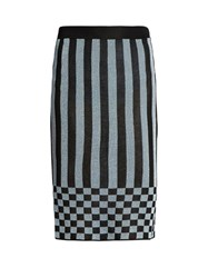 House Of Holland Striped Knit Pencil Skirt Black Blue