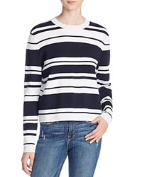 Frame Le Sculpture Crew Long Sleeve Top Navy Blanc