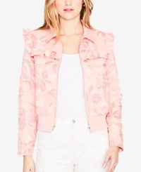Rachel Roy Printed Ruffle Trim Bomber Jacket Created For Macy's Blush Combo