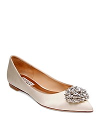 Badgley Mischka Davis Embellished Satin Pointed Toe Flats Ivory