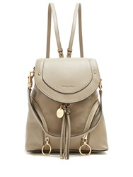 See By Chloe Olga Medium Grained Leather Backpack Light Grey
