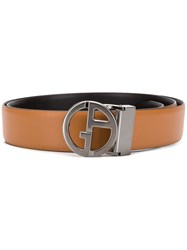 Giorgio Armani Logo Buckle Belt Brown