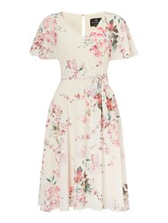 Ariella V Neck Tea Length Dress Candy Pink And Cream Candy Pink And Cream
