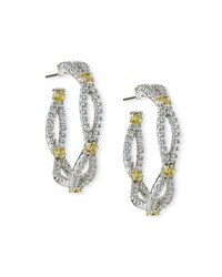 Fantasia Open Weave Yellow And White Cz Hoop Earrings
