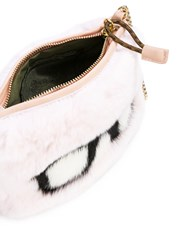Mr And Mrs Italy Spectacles Embroidered Bag Women Cotton Mink Fur Rabbit Fur One Size Black