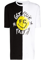 Faith Connexion Smiley Split Print Cotton T Shirt 60