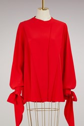Givenchy 3 4 Sleeves Crepe Blouse Rouge