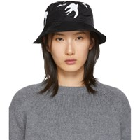 Mcq By Alexander Mcqueen Black Swallow Bucket Hat