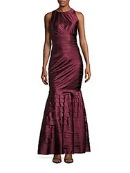 Kay Unger Striped Ankle Length Gown Burgundy