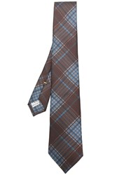 Canali Check Pattern Tie Brown