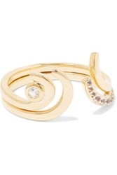 Elizabeth And James Aalto Set Of Two Gold Tone Crystal Rings 8