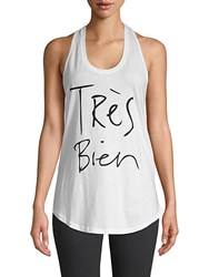 Chrldr Tres Bien Graphic Cotton Tank Top White