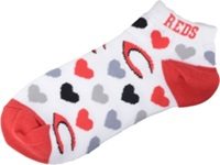For Bare Feet Women's Cincinnati Reds Heart Logo Repeat Socks