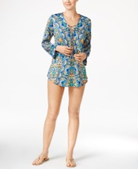Bar Iii Monarchy Printed Lace Up Tunic Cover Up Only At Macy's Women's Swimsuit Cool Multi