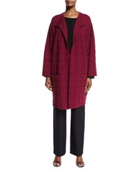 Eskandar Tile Design Jacket Cardigan Claret Red