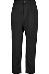 Marc By Marc Jacobs Cropped Cotton Canvas Tapered Pants Black